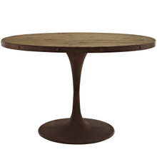 "Drive 47"" Oval Wood Top Dining Table, Brown, Metal 10034"