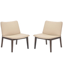 Evade Lounge Chair Set of 2, Beige, Fabric 10048