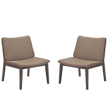 Evade Lounge Chair Set of 2, Brown, Fabric 10050