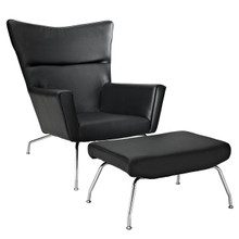 Class Leather Lounge Chair in Black