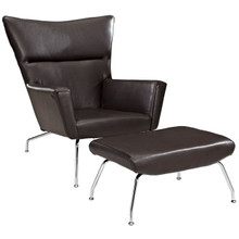 Class Leather Lounge Chair in Dark Brown