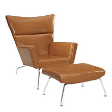 Class Leather Lounge Chair in Tan