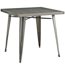 Alacrity Square Metal Dining Table, Silver, Metal 10089