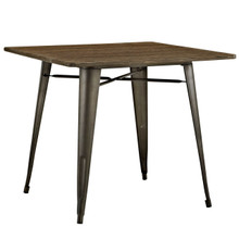 "Alacrity 36"" Square Wood Dining Table, Brown, Metal 10090"