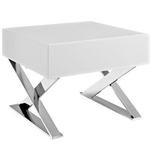 Sector Nightstand, White, Wood 10106