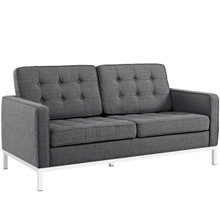 Loft Upholstered Fabric Loveseat, Grey, Fabric 10114