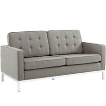 Loft Upholstered Fabric Loveseat, Grey, Fabric 10115