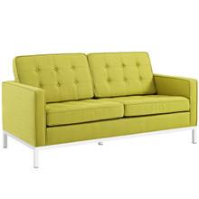 Loft Upholstered Fabric Loveseat, Green, Fabric 10118