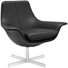 Release Bonded Leather Lounge Chair, Black, Leather 10139