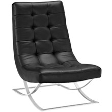 Slope Upholstered Vinyl Lounge Chair, Black, Faux Leather 10143