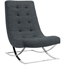 Slope Upholstered Fabric Lounge Chair, Grey, Fabric 10146