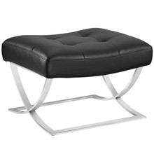 Slope Upholstered Vinyl Ottoman, Black, Faux Leather 10147