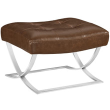Slope Upholstered Vinyl Ottoman, Brown, Faux Leather 10148