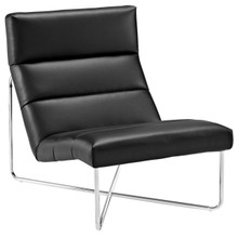 Reach Upholstered Vinyl Lounge Chair, Black, Faux Leather 10151