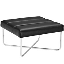 Reach Upholstered Vinyl Ottoman, Black, Faux Leather 10154