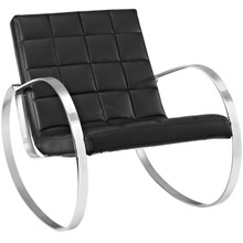 Gravitas Upholstered Vinyl Lounge Chair, Black, Faux Leather 10157