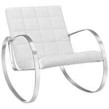 Gravitas Upholstered Vinyl Lounge Chair, White, Faux Leather 10158