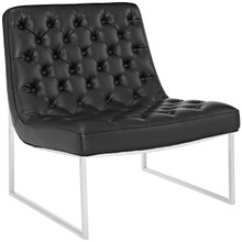 Ibiza Upholstered Vinyl Lounge Chair, Black, Faux Leather 10159