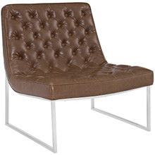Ibiza Upholstered Vinyl Lounge Chair, Brown, Faux Leather 10160