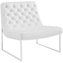 Ibiza Upholstered Vinyl Lounge Chair, White, Faux Leather 10161