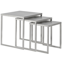 Rail Stainless Steel Nesting Table, Silver, Metal 10171