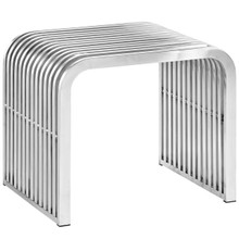 Pipe Stainless Steel Bench, Silver, Metal 10172