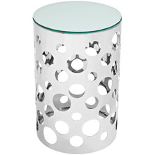 Etch Stainless Steel Side Table, Silver, Glass 10178