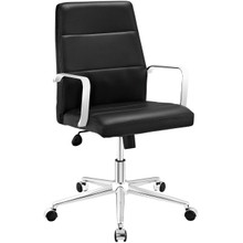 Stride Mid Back Office Chair, Black, Faux Leather 10198