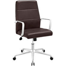 Stride Mid Back Office Chair, Brown, Faux Leather 10199