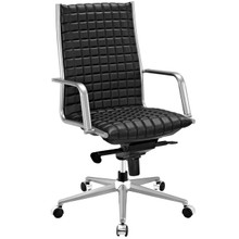 Pattern Highback Office Chair, Black, Faux Leather 10202