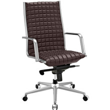 Pattern Highback Office Chair, Brown, Faux Leather 10203