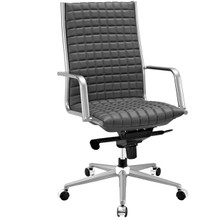 Pattern Highback Office Chair, Grey, Faux Leather 10204