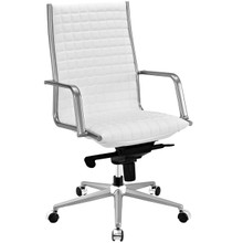 Pattern Highback Office Chair, White, Faux Leather 10205