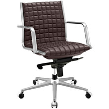 Pattern Office Chair, Brown, Faux Leather 10207