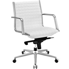 Pattern Office Chair, White, Faux Leather 10209