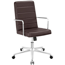 Cavalier Highback Office Chair, Brown, Faux Leather 10211