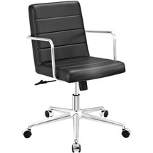 Cavalier Mid Back Office Chair, Black, Faux Leather 10214