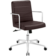 Cavalier Mid Back Office Chair, Brown, Faux Leather 10215