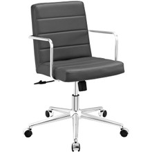 Cavalier Mid Back Office Chair, Grey, Faux Leather 10216