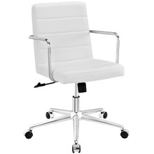 Cavalier Mid Back Office Chair, White, Faux Leather 10217