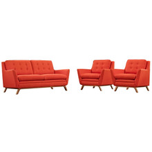 Beguile Armchairs and Sofa Set, Red, Fabric 10300