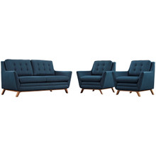 Beguile Armchairs and Sofa Set, Navy, Fabric 10301