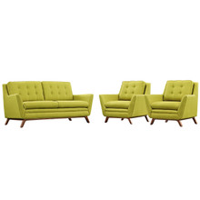 Beguile Armchairs and Sofa Set, Green, Fabric 10306