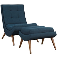 Ramp Upholstered Fabric Lounge Chair Set, Navy, Fabric 10310