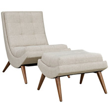 Ramp Upholstered Fabric Lounge Chair Set, Beige, Fabric 10312
