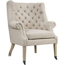 Chart Upholstered Fabric Lounge Chair, Beige, Fabric 10321