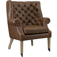 Chart Upholstered Vinyl Lounge Chair, Brown, Faux Leather 10322