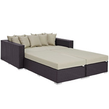Convene Four PCS Outdoor Patio Daybed, Beige, Rattan 10386