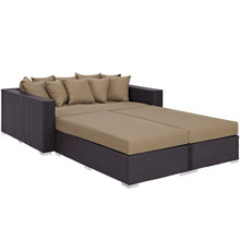 Convene Four PCS Outdoor Patio Daybed, Brown, Rattan 10387