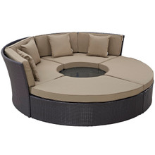 Convene Circular Outdoor Patio Daybed Set, Brown, Rattan 10456